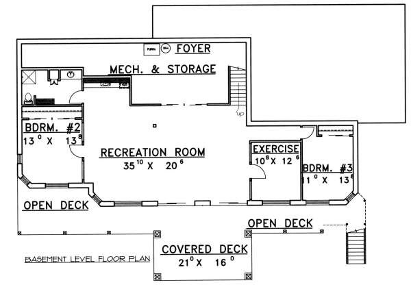 Southern Floor Plan - Lower Floor Plan Plan #117-565