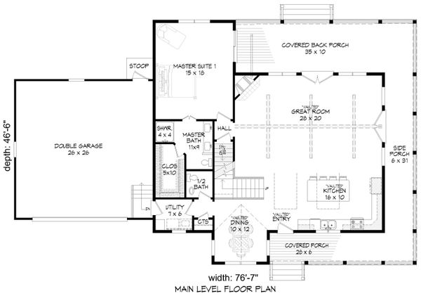 Country Floor Plan - Main Floor Plan Plan #932-145