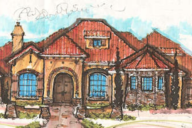 Mediterranean Style House Plan - 4 Beds 4.5 Baths 4464 Sq/Ft Plan #135-168 Exterior - Front Elevation