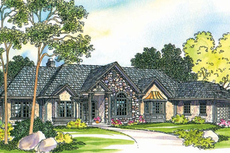 Ranch Exterior - Front Elevation Plan #124-372