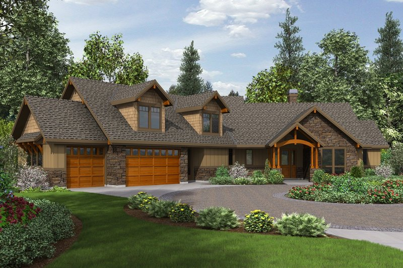 Craftsman Style House Plan - 3 Beds 2.5 Baths 2637 Sq/Ft Plan #48-647 Exterior - Front Elevation