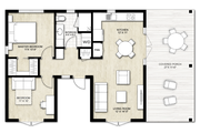 Ranch Style House Plan - 2 Beds 1 Baths 795 Sq/Ft Plan #924-11 Floor Plan - Main Floor