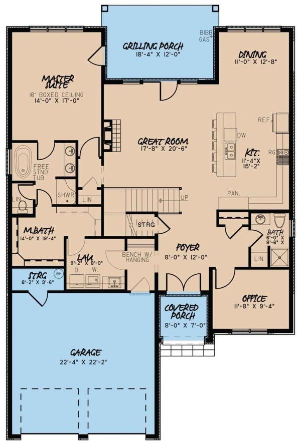 European Floor Plan - Main Floor Plan Plan #923-57
