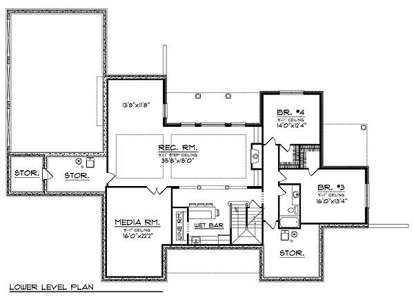 Traditional Floor Plan - Lower Floor Plan Plan #70-855