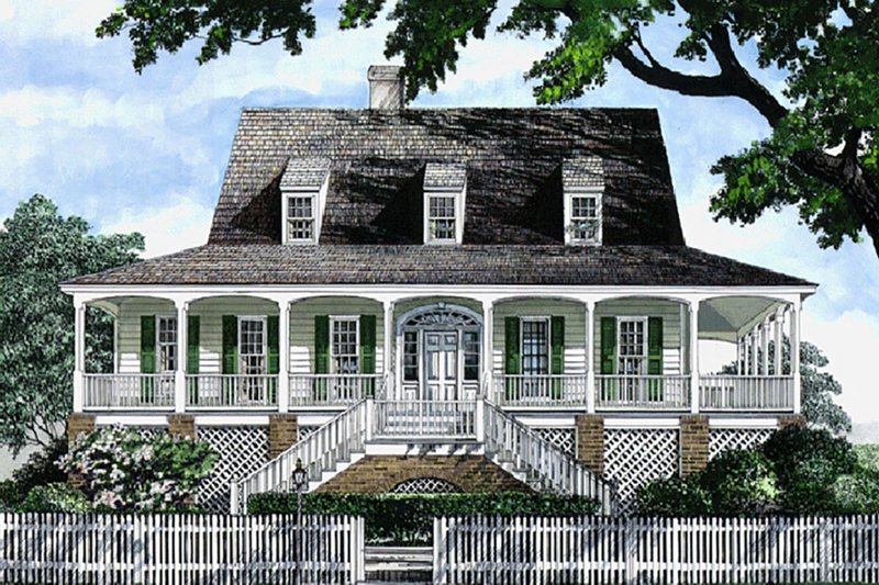 Country Style House Plan - 4 Beds 3 Baths 2309 Sq/Ft Plan #137-184 Exterior - Front Elevation