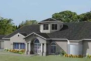 Adobe / Southwestern Style House Plan - 4 Beds 4 Baths 3858 Sq/Ft Plan #1-883 Exterior - Front Elevation