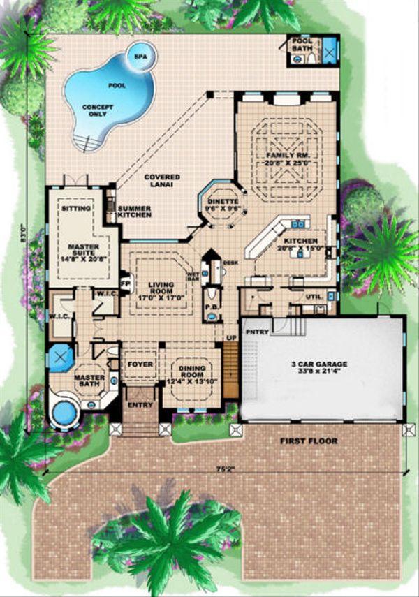 Mediterranean Floor Plan - Main Floor Plan Plan #27-381