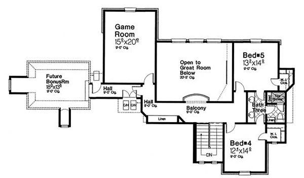 Country Floor Plan - Upper Floor Plan Plan #310-1318