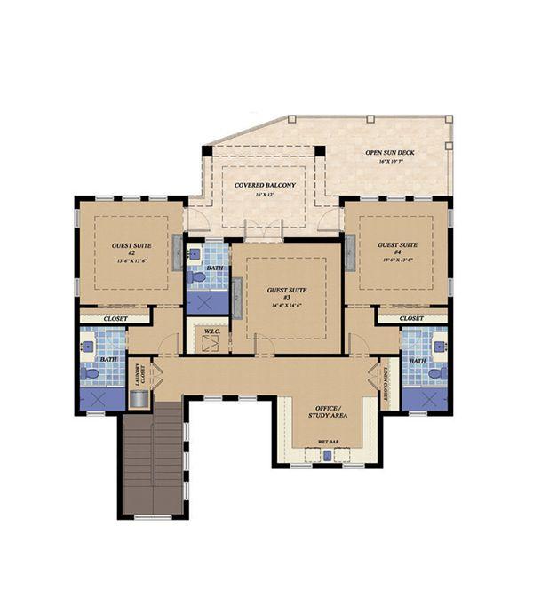 Mediterranean Floor Plan - Upper Floor Plan Plan #548-15