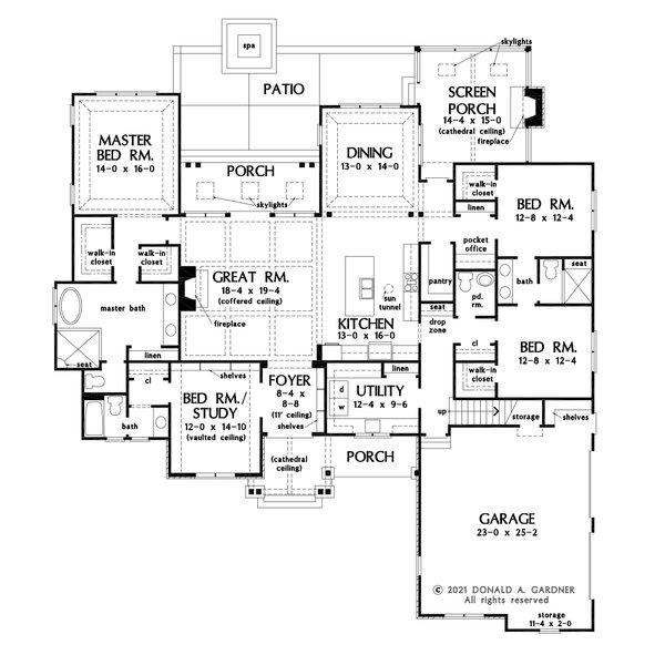 Home Plan - Cottage Floor Plan - Main Floor Plan #929-1132