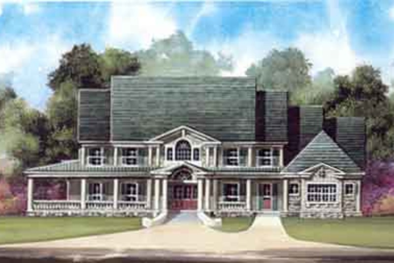 Southern Exterior - Front Elevation Plan #119-198