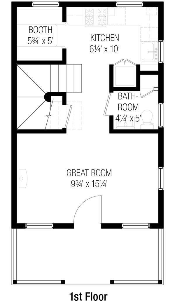 Cottage Style House Plan - 2 Beds 1.5 Baths 746 Sq/Ft Plan #915-5 Floor Plan - Main Floor Plan