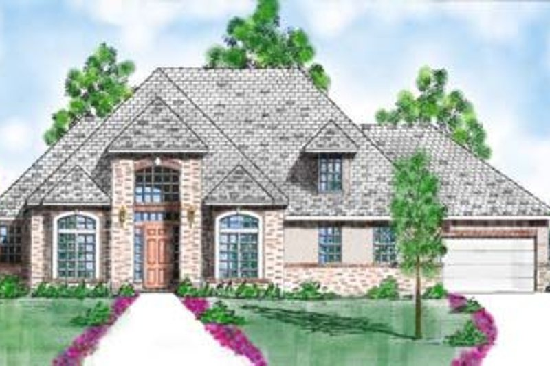 European Style House Plan - 3 Beds 3 Baths 3016 Sq/Ft Plan #52-149 Exterior - Front Elevation