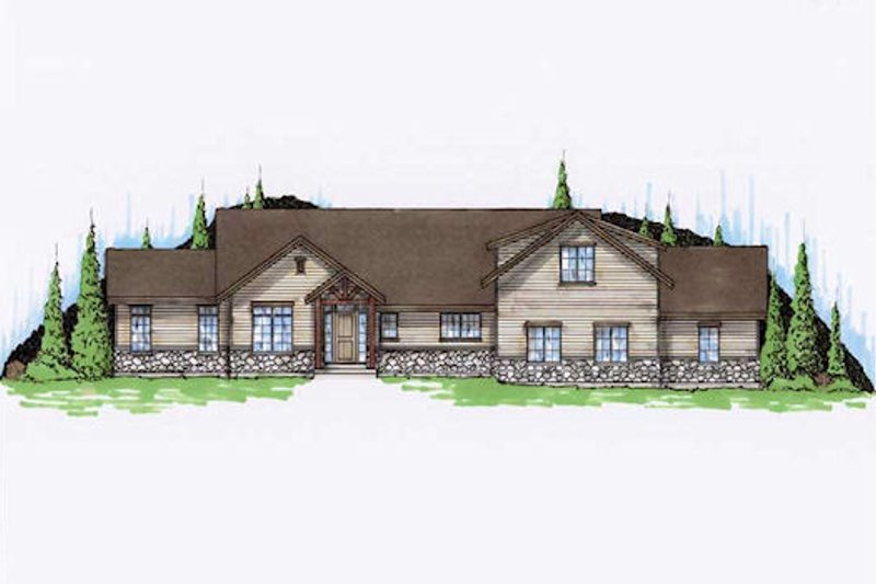 Ranch Exterior - Front Elevation Plan #5-387