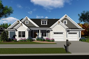 Ranch Exterior - Front Elevation Plan #70-1421