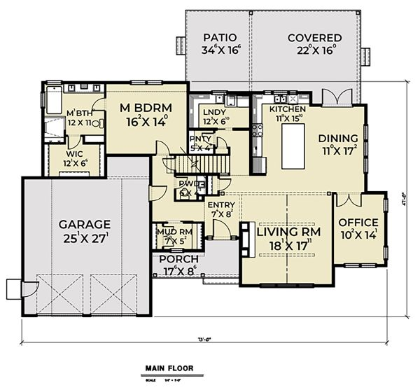 Craftsman Floor Plan - Main Floor Plan Plan #1070-43