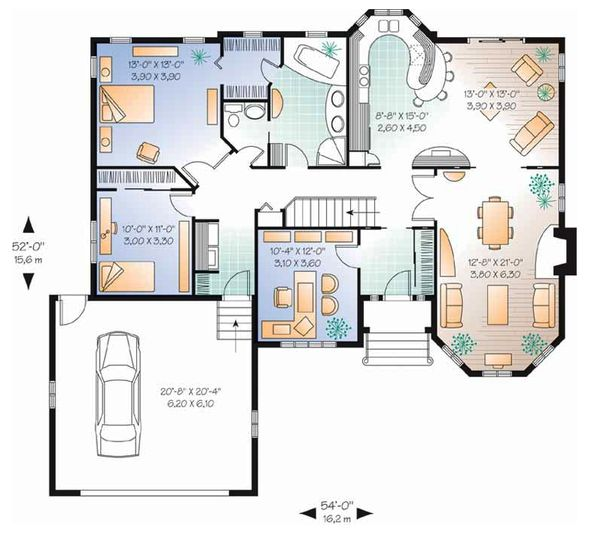 European Floor Plan - Main Floor Plan Plan #23-130