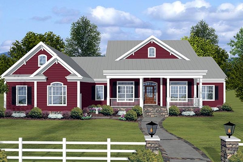 Country Style House Plan - 3 Beds 3.5 Baths 2294 Sq/Ft Plan #56-608 Exterior - Front Elevation