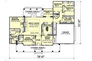 Southern Style House Plan - 4 Beds 3.5 Baths 2605 Sq/Ft Plan #44-112 Floor Plan - Main Floor Plan