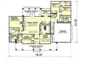 Southern Style House Plan - 4 Beds 3.5 Baths 2605 Sq/Ft Plan #44-112 Floor Plan - Main Floor Plan
