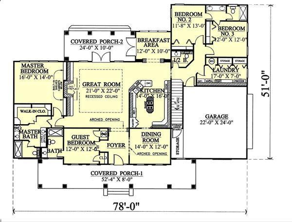 Southern Floor Plan - Main Floor Plan Plan #44-112
