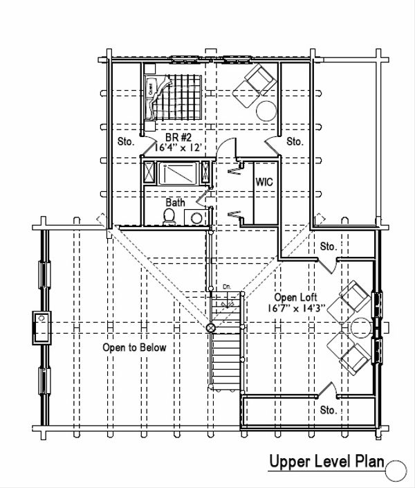 Log Floor Plan - Upper Floor Plan Plan #451-5