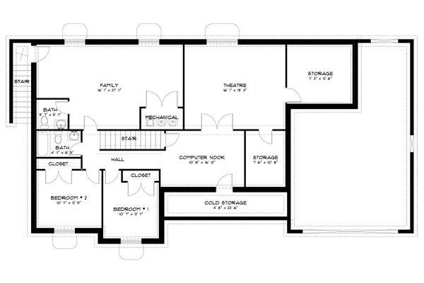 Traditional Floor Plan - Lower Floor Plan Plan #1060-63