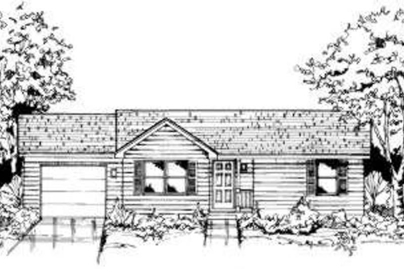 Ranch Style House Plan - 2 Beds 1 Baths 863 Sq/Ft Plan #334-110 Exterior - Front Elevation