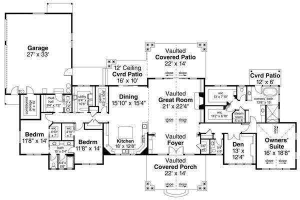 House Design - Ranch Floor Plan - Main Floor Plan #124-1115