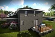 Modern Style House Plan - 3 Beds 2.5 Baths 1601 Sq/Ft Plan #70-1456 Exterior - Rear Elevation