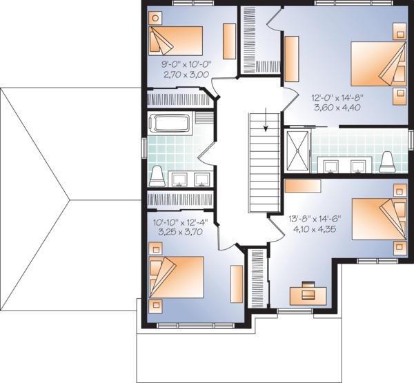Craftsman Style House Plan - 4 Beds 3 Baths 2038 Sq/Ft Plan #23-2659 Floor Plan - Upper Floor Plan