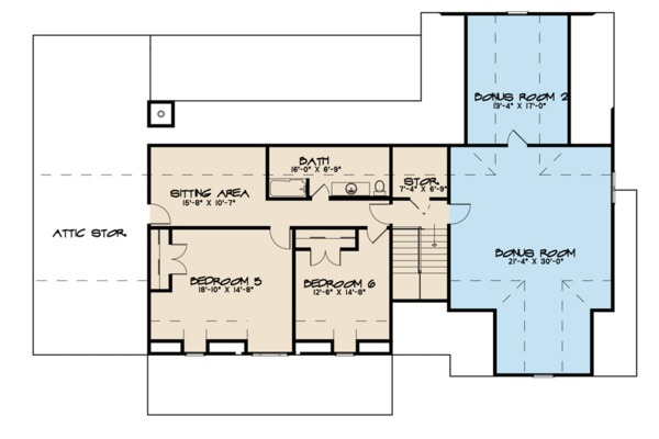 Farmhouse Floor Plan - Upper Floor Plan Plan #923-102