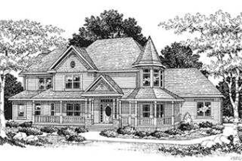 Victorian Style House Plan - 4 Beds 2.5 Baths 3321 Sq/Ft Plan #70-482 Exterior - Front Elevation