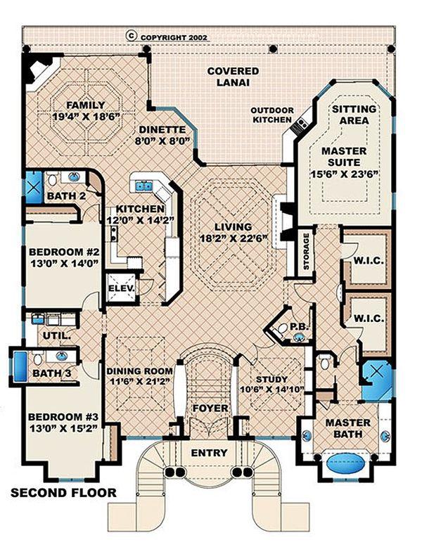 Beach Floor Plan - Upper Floor Plan Plan #27-469