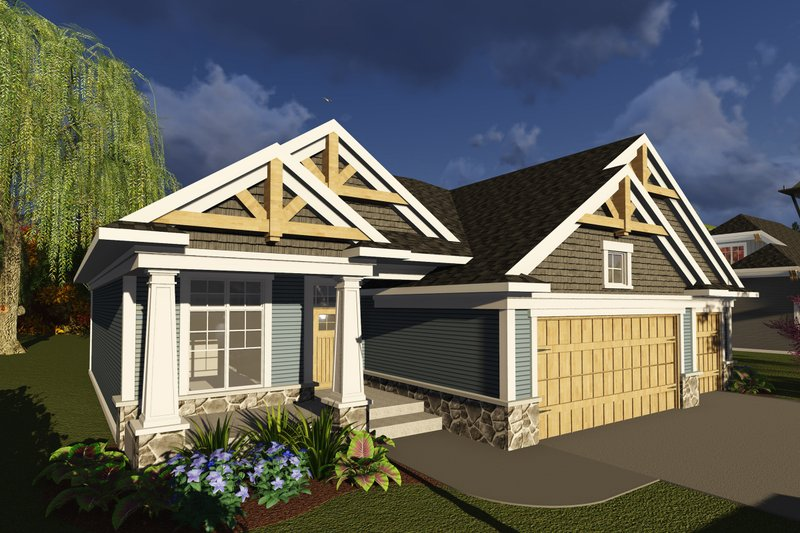 Ranch Exterior - Front Elevation Plan #70-1244
