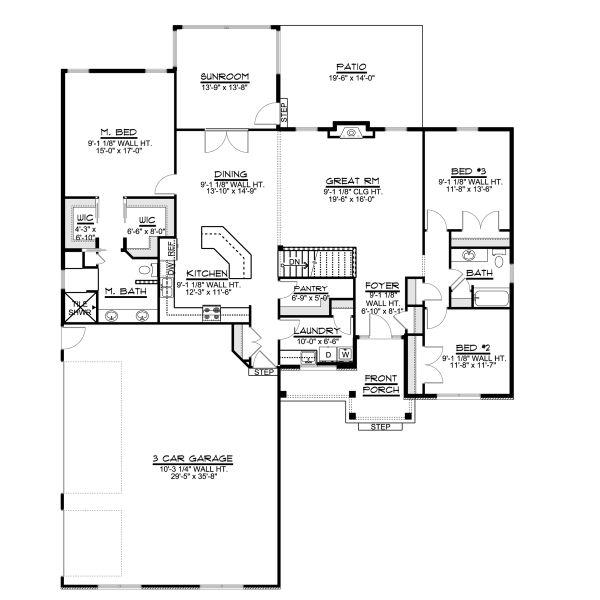 Ranch Floor Plan - Main Floor Plan #1064-28