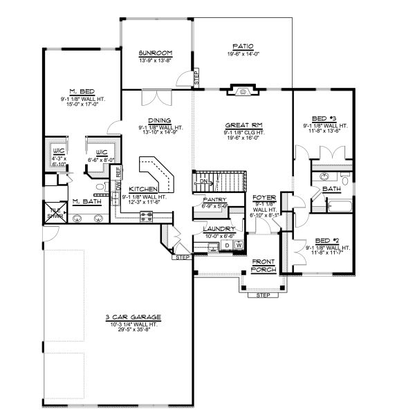 Ranch Floor Plan - Main Floor Plan Plan #1064-28