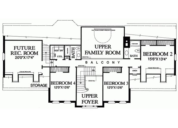 Southern Floor Plan - Upper Floor Plan Plan #137-192