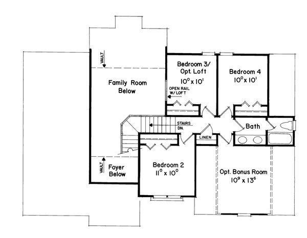 Traditional Floor Plan - Upper Floor Plan Plan #927-7