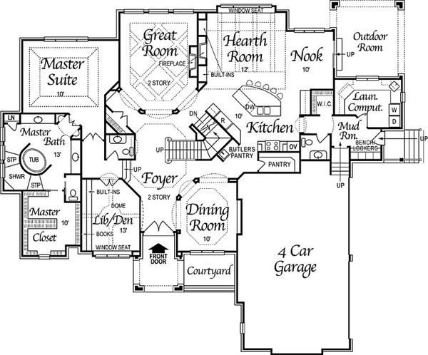 European Floor Plan - Main Floor Plan Plan #458-4