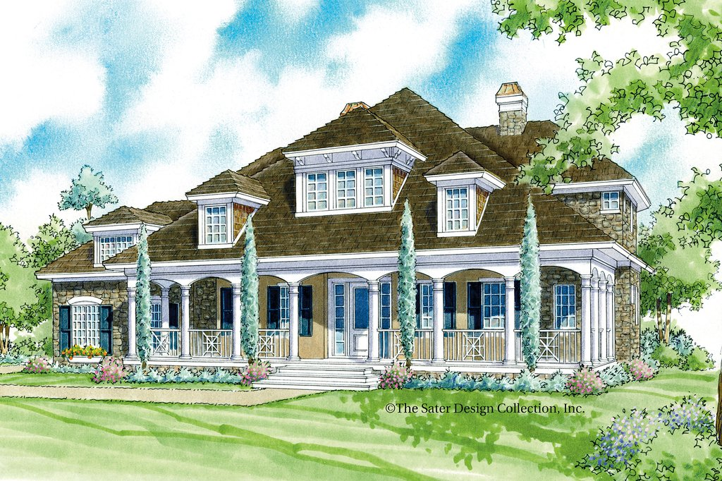 Country style house plan 3 beds 3 5 baths 3528 sq ft for Sater design homes for sale