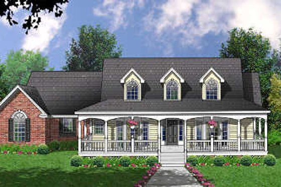 Country Exterior - Front Elevation Plan #40-321
