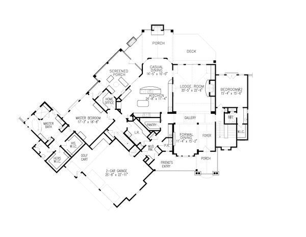 Dream House Plan - Craftsman Floor Plan - Main Floor Plan #54-405