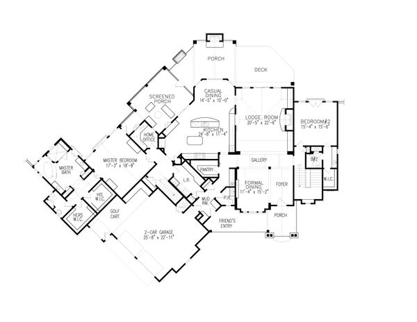 House Plan Design - Craftsman Floor Plan - Main Floor Plan #54-405