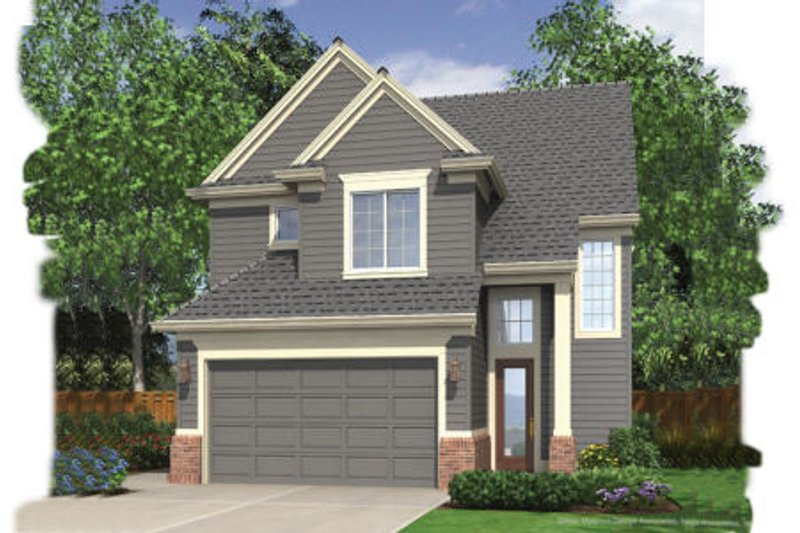 Traditional Style House Plan - 3 Beds 2.5 Baths 1464 Sq/Ft Plan #48-136 Exterior - Front Elevation