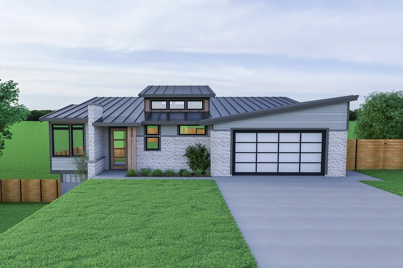 Home Plan - Contemporary Exterior - Front Elevation Plan #1070-56