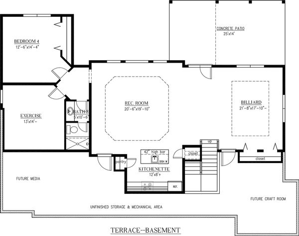 Craftsman Floor Plan - Lower Floor Plan Plan #437-60