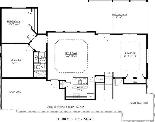 House Design - Craftsman Floor Plan - Lower Floor Plan #437-60