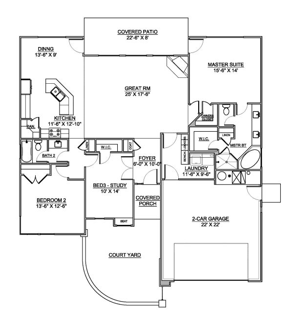 Modern Floor Plan - Main Floor Plan Plan #1073-6
