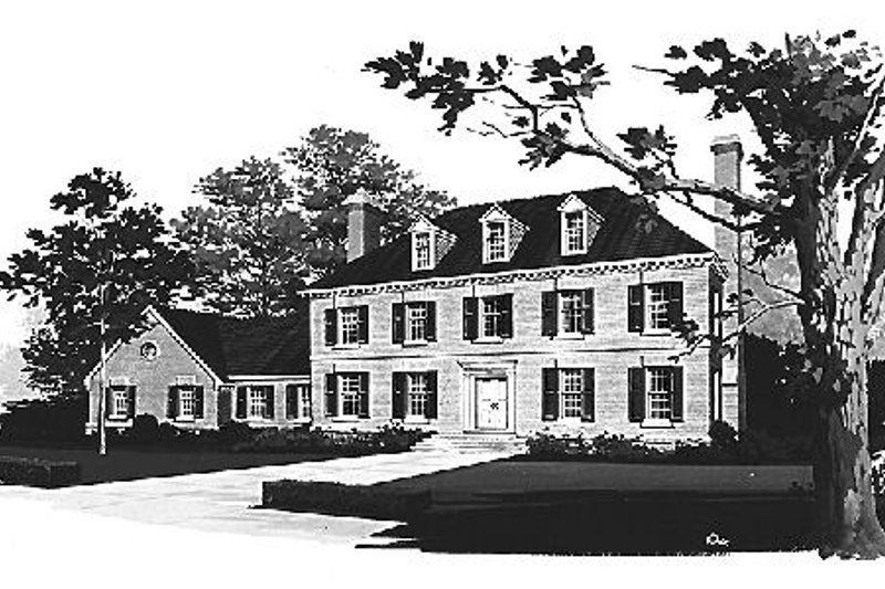 Colonial Style House Plan - 3 Beds 3 Baths 3405 Sq/Ft Plan #72-331 Exterior - Front Elevation